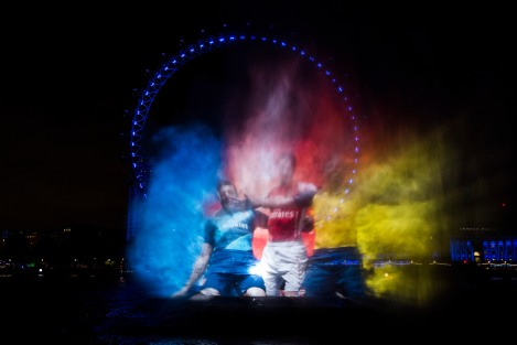 PUMA launch the new Arsenal Kit Trilogy through a spectacular Water Projection on the River Thames in London, copyright PUMA